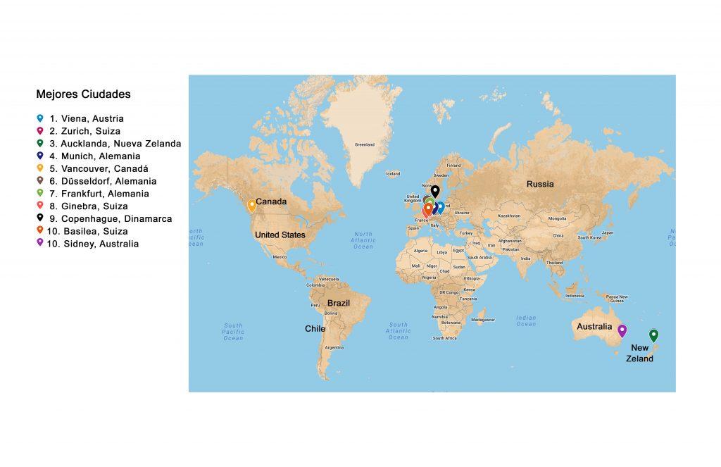 Mapa con ubicación de los 10 primeros países con mejor calidad de vida