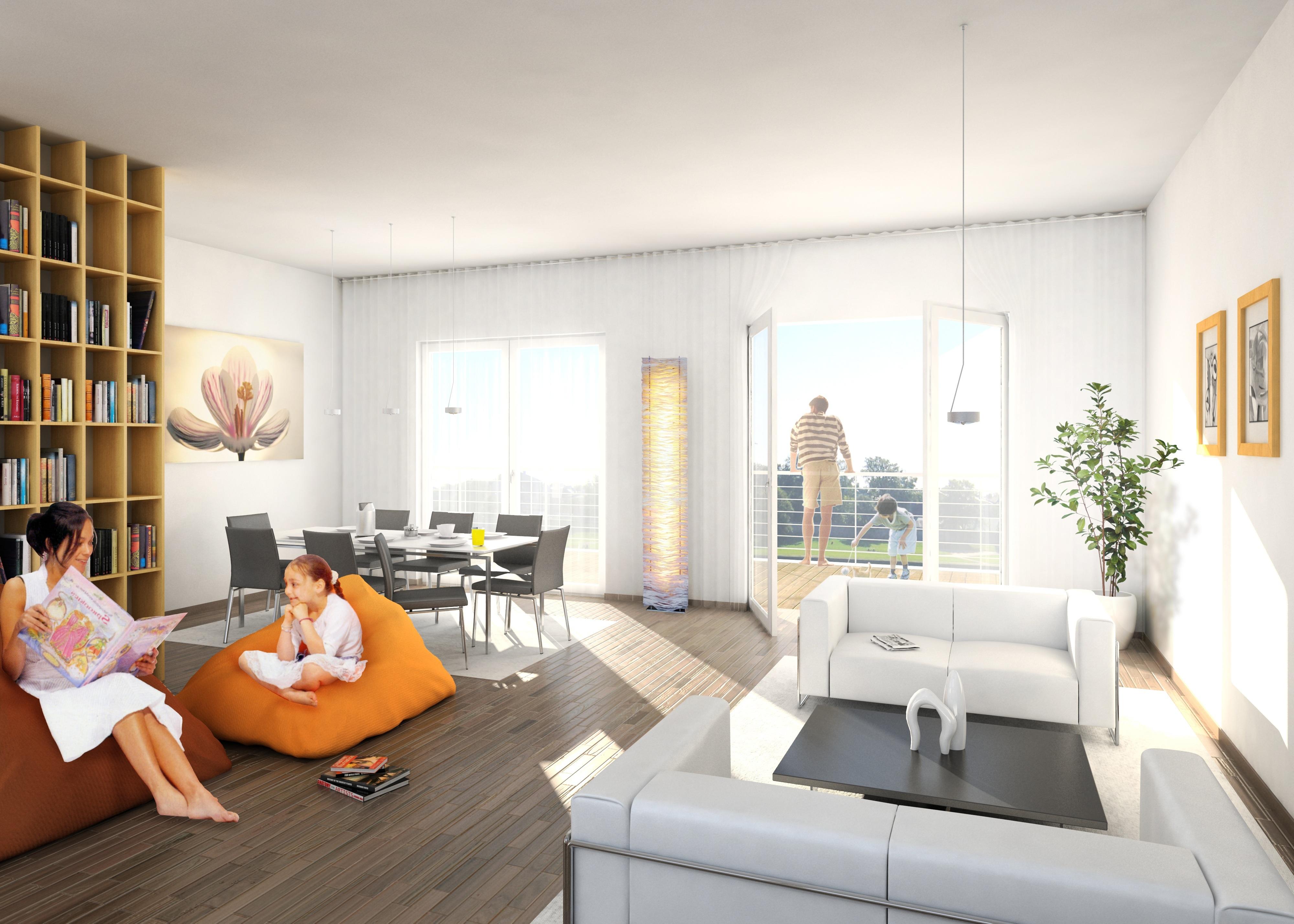 Familia disfrutando su vida como expatriados con muebles arrendados