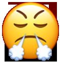 Cara tirando humo por la nariz usado en whatsapp y redes sociales